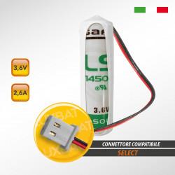 Batteria al Litio SAFT LS14500 3,6V 2,6Ah compatibile SELECT codice batteria SBT01