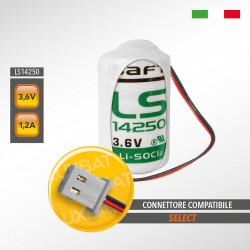 Batteria al Litio SAFT LS14250 3,6V 1,2Ah compatibile SELECT codice batteria SBT08