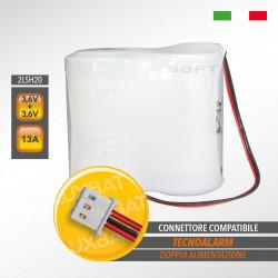 Pacco batteria al litio SAFT 2LSH20 doppia alimentazione 3,6V+3,6V 13Ah compatibile TECNOALARM