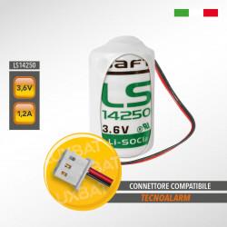 Batteria al Litio SAFT LS14250 3,6V 1,2Ah compatibile TECNOALARM