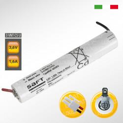 Pacco batteria SAFT 3VNTCs Ni-Cd per lampade d'emergenza, 3,6V 1600mAh alta temperatura