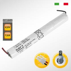Pacco batteria SAFT 4VNTCs Ni-Cd per lampade d'emergenza, 4,8V 1600mAh alta temperatura