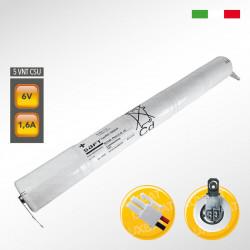 Pacco batteria SAFT 5VNTCs Ni-Cd per lampade d'emergenza, 6,0V 1600mAh alta temperatura