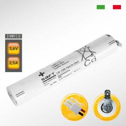 Pacco batteria SAFT 3VNTC U Ni-Cd per lampade d'emergenza, 3,6V 2500mAh alta temperatura