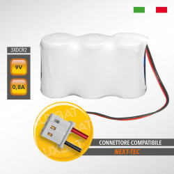 Pacco batteria al Litio Duracell 3xCR2 9V 0,8Ah compatibile NEXT-TEC