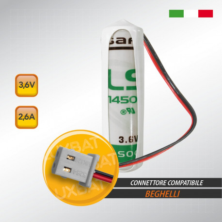 Batteria al Litio SAFT LS14500 3,6V 2,6Ah compatibile BEGHELLI