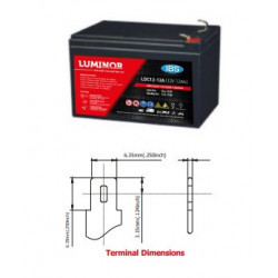 LDC12-12 LUMINOR  12V 12Ah (C20) Batteria al Piombo AGM DEEP CYCLE Terminali F2