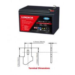 LDC12-12 LUMINOR  12V 12Ah (C20) Batteria al Piombo AGM DEEP CYCLE Terminali F2