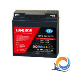 LDC12-20 LUMINOR  12V 20Ah (C20) Batteria al Piombo AGM DEEP CYCLE Terminali F13-M5