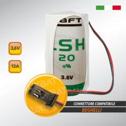 Batteria al Litio SAFT LSH20 3,6V 13Ah compatibile BEGHELLI